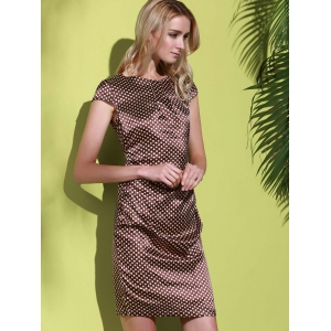 Polka Dot Sheath Cocktail Dress - COFFEE S