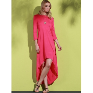 Fashionable Round Neck 3/4 Sleeve Hollow Out Backless Maxi Dress For Women -