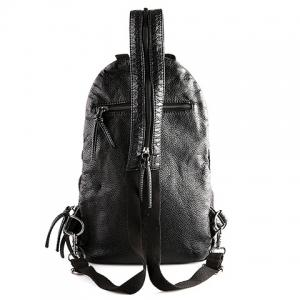 Casual PU Leather and Rivets Design Backpack For Men - BLACK