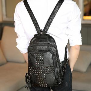 Casual PU Leather and Rivets Design Backpack For Men -