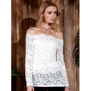 Stylish Slash Collar Off-The-Shoulder Long Sleeve Solid Color Lace Women's T-Shirt - WHITE S