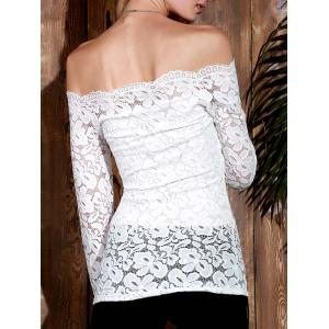 Stylish Slash Collar Off-The-Shoulder Long Sleeve Solid Color Lace Women's T-Shirt