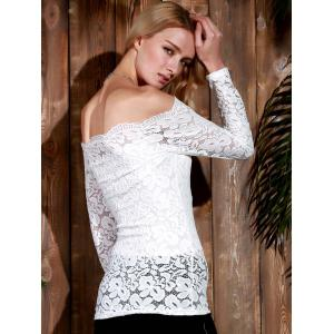 Stylish Slash Collar Off-The-Shoulder Long Sleeve Solid Color Lace Women's T-Shirt -
