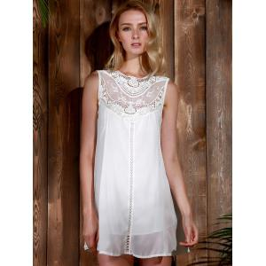 Lace Panel Chiffon Casual Summer Short A Line Dress -