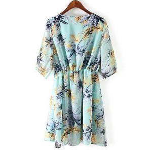 Sweet Scoop Neck Leaves Print Half Sleeve Dress For Women -