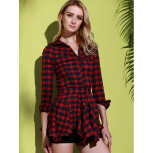 Checked Lace-Up Long Sleeve Dress - RED S