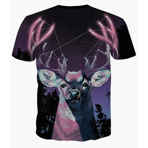 Starry Sky and Deer Print Round Neck Short Sleeves 3D T-Shirt For Men -