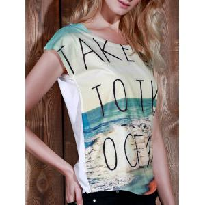 Casual Scoop Neck Beach Print Short Sleeve T-Shirt For Women
