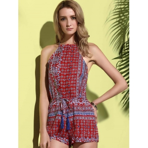 Sleeveless Cut Out Dressy Pants Romper - RED L