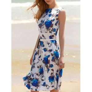 Floral Print A Line Sleeveless Midi Dress - Blue - Xl