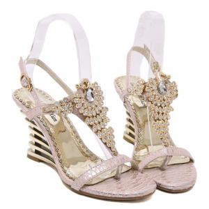 Gorgeous Rhinestone and Peacock Design Sandals For Women -