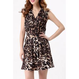 Chic V-Neck Leopard Sleeveless Dress For Women - LEOPARD M