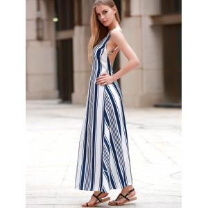 Sexy Open Back Vertical Striped Maxi Dress -