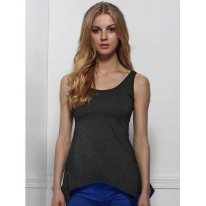 Sexy U Neck Solid Color Asymmetrical Tank Top For Women -