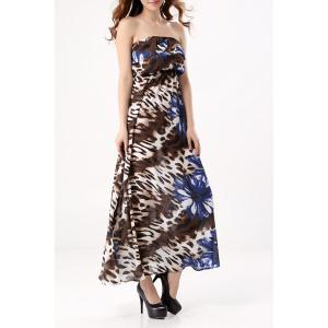 Bohemian Style Strapless Floral Print Maxi Dress For Women -