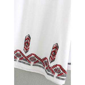 Fashion Round Collar 3/4 Sleeve Embroidery T-Shirt For Women -