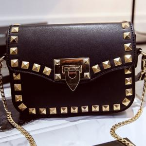 Stylish Rivets and Black Colour Design Crossbody Bag For Women - BLACK