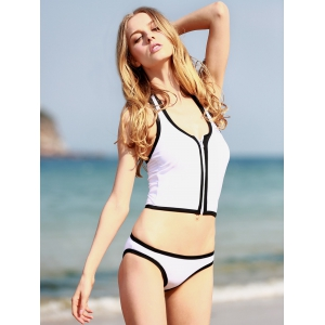 Halter Zippered Tankini Swimwear - WHITE AND BLACK XL