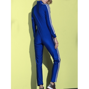 Active Side Striped Long Sleeve Zippered Bodycon Jumpsuit For Women -