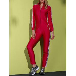 Active Side Striped Long Sleeve Zippered Bodycon Jumpsuit For Women