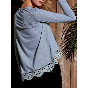 Stylish Lace Spliced Hem Long Sleeve Gray T-Shirt For Women -