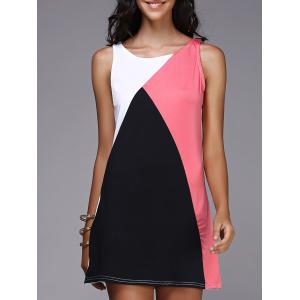 Tank Color Block Casual Daytime Dress Outfit - Black And Pink - S