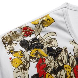Round Neck Floral Print Short Sleeve Men's T-Shirt -