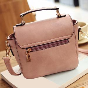 Sweet Metal and Colour Block Design Crossbody Bag For Women - PINK