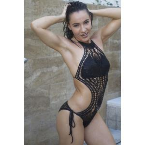 Sexy Halter High Neck Crochet Monokini One-Piece Swimsuit -
