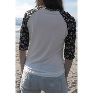 Chic Scoop Collar 3/4 Sleeve Spliced Floral Print Women's T-Shirt -