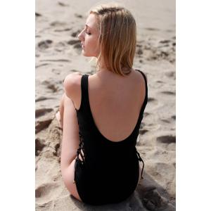 Sexy Sleeveless Lace-Up Hollow Out One-Piece Women's Swimwear - BLACK S