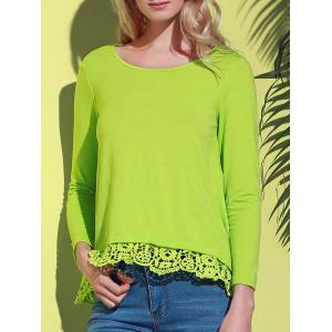 Stylish Lace Spliced Hem Long Sleeve T-Shirt For Women