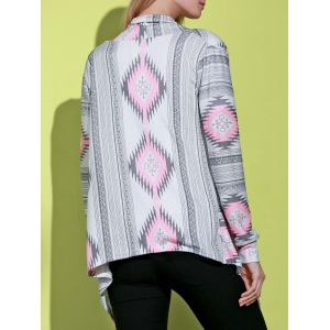 Casual Geometric Printed Long Sleeve Asymmetric Cardigan For Women - PINK L