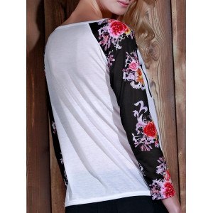 Stylish Scoop Neck Long Sleeve Floral and Letter Pattern T-Shirt For Women -