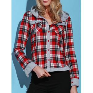 Stylish Hooded Long Sleeve Gingham Single-Breasted Women's Blouse - Red - L