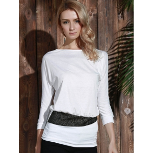 Long Sleeve Sequin Embellished Packet Buttock Cotton Blend T-Shirt - WHITE ONE SIZE