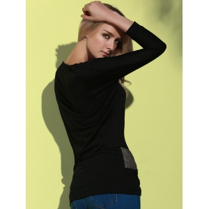 Long Sleeve Sequin Embellished Packet Buttock Cotton Blend T-Shirt - BLACK ONE SIZE