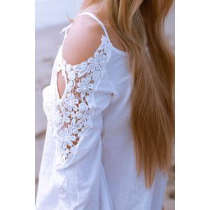 Stylish Scoop Neck Long Sleeve Hollow Out Women's Blouse - WHITE XL