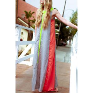 Floor Length Color Block Swing Casual Dress