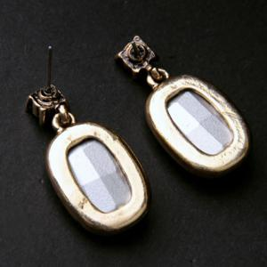 Pair of Vintage Faux Crystal Oval Earrings -