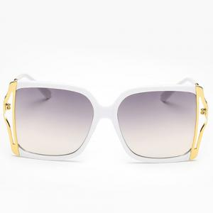 Chic Hollow Out Metal Splicing Sunglasses For Women - WHITE