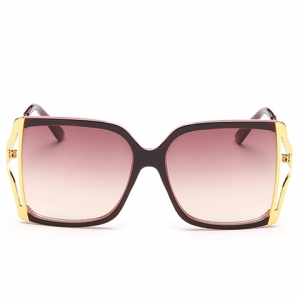 Chic Hollow Out Metal Splicing Black Match Frame Sunglasses For Women -