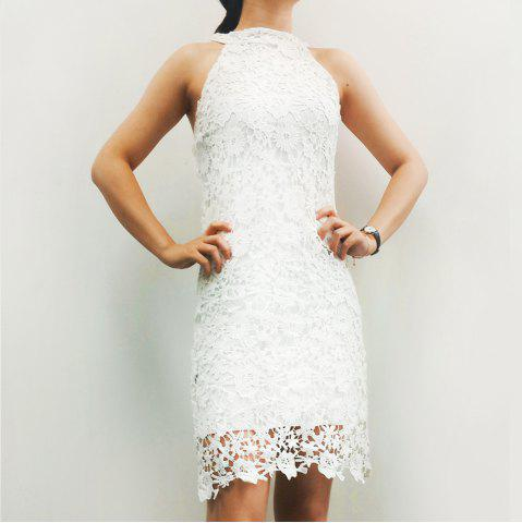 New Sleeveless Lace Short Sheath Cocktail Dress WHITE L