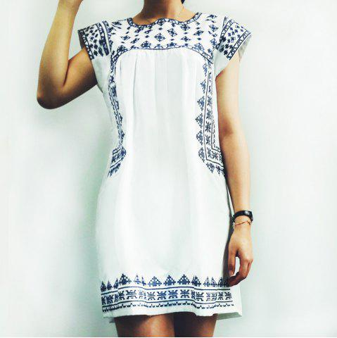 Trendy Ethnic Cap Sleeve Printed Mini T-Shirt Beach Dress