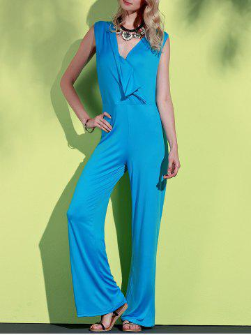 Online Elegant Blue Plunging Neck Sleeveless Wide-Leg Jumpsuit For Women
