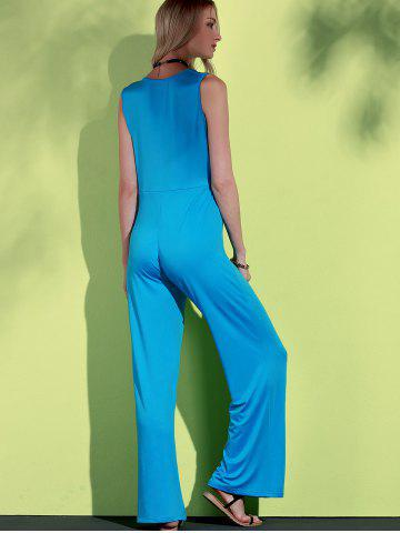 Trendy Elegant Blue Plunging Neck Sleeveless Wide-Leg Jumpsuit For Women - L BLUE Mobile