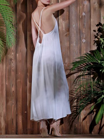 Cheap Open Back Beach Casual Long Maxi Slip Dress - S WHITE Mobile