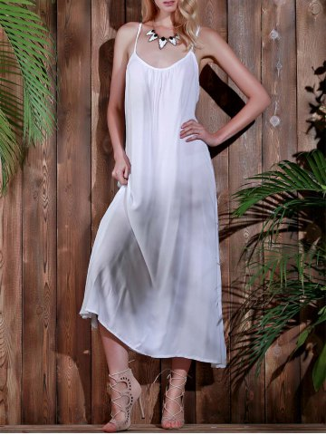 Best Open Back Beach Casual Long Maxi Slip Dress - S WHITE Mobile