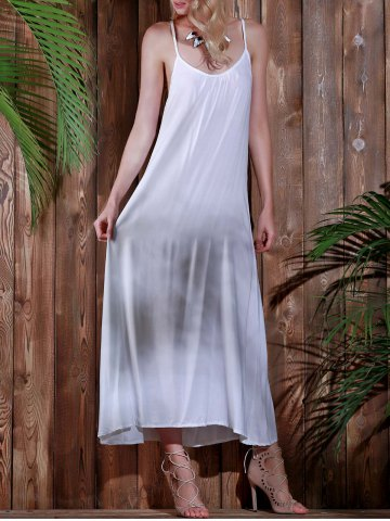 Hot Open Back Beach Casual Long Maxi Slip Dress - S WHITE Mobile