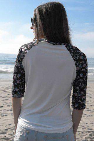 Chic Scoop Collar 3/4 Sleeve Spliced Floral Print Women's T-Shirt - WHITE S